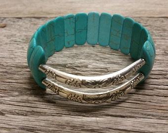 Turquoise Stretch Bead Bracelet