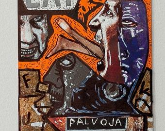Punk Art Veganism Cut and Paste Collage Post Card Art
