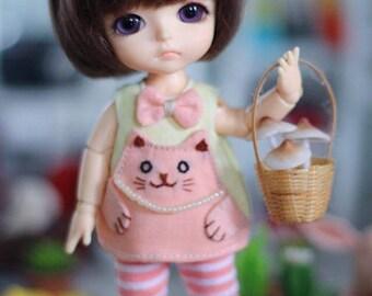Dress for BJD Dolls Lati Yellow/PukiFee bjd Hand embroidery cat