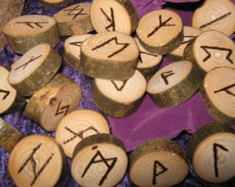 Hand Crafted Rustic Willow Runes, Wild Wood, Elder Futhark, Pyrographed Rune Set With Velvet Casting Pouch