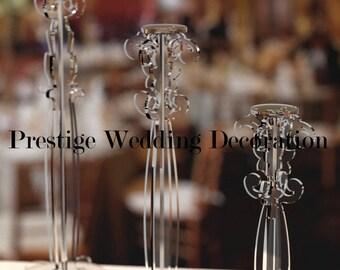 Crystal candle Holder set of 3 centerpiece