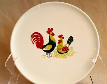 Rooster and Hen dinner plate by Eastern China Co, Inc
