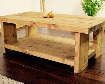 Handmade Rustic chunky wood coffee table ~ solid pine ~ oak stain finish ~ made in the UK ~