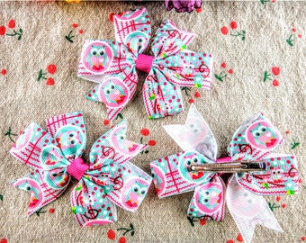 Bows, Owl Hair Bows, Hair Bows for Girls, Toddler Hair Bows, Hair Bows, Baby Hair Bows, Small Hair Bows, Girls Hair Bows, Ribbon Bows