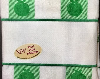 Green/White checked Hand Towel with Apples that can be Cross Stitched, by Crafter's Pride,  100% Cotton