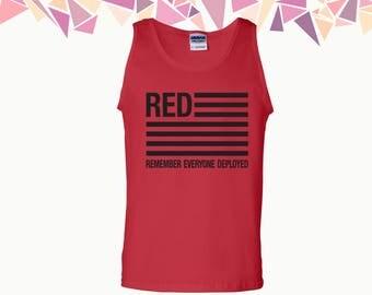 Red Remember Everyone Deployed Tank Red Tank Top Red US Flag Top 2 Amendment Mens Tank Mens Tank Top Mens Top & Tees Party Tank Gift For Him