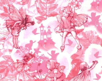 Cicely Mary Barker Flower Fairies Dream Land Characters on Pink 100% Cotton Fabric by Michael Miller - FQ