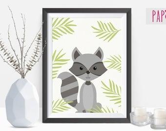 Raccoon Print | printable wall art, printable wall art, nursery ideas, cute animal nursery, nursery printable
