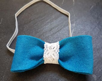 Teal bow headband with lace detail