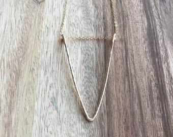 Long Gold V Necklace, Delicate Gold V Necklace, Long V Necklace,  Chevron Necklace