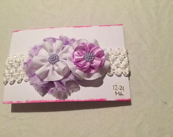 Purple and white flower headband