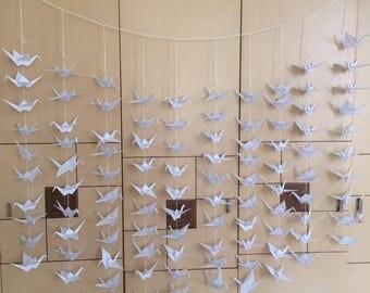 50 strands set of 10 cranes (white) - wedding decoration - anniversary - party - birthday ...
