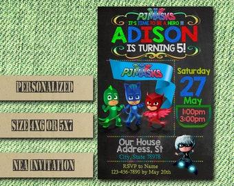 Pj Masks Invitation / Pj Masks Birthday Invitation / Disney Pj Masks / Pj Masks Party / Pj Masks Birthday / Pj Masks Printable / Pj Masks SS