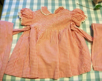 Vintage red and white gingham child's dress