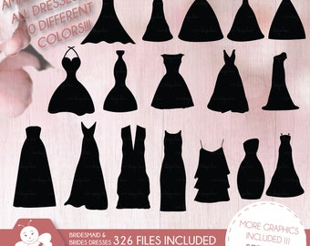 bridesmaid dresses silhouettes clipart, silhouette clipart, bride, greeting cards, CL0017