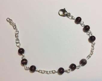 "Bracelet for women ""Chained Brown cat's eye"""