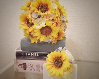 Sunflower Bouquet, Yellow Bouquet, Wedding Bouquet, Bridal Bouquet,Round Bouquet, Wedding Flowers, Yellow Flowers, Sunflowers, Boutonniere
