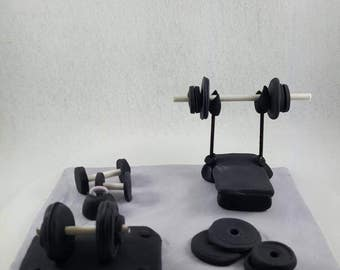 Fondant weight room cake topper