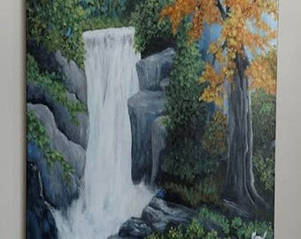 SOLD : Waterfall, water, forest, scenery, landscape, acrylic, painting, realistic