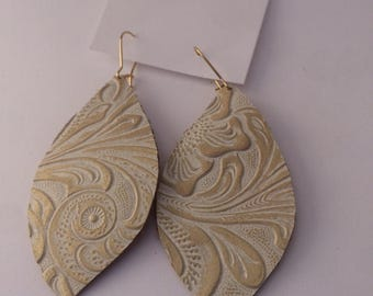 White and Gold Embossed Leather Earring