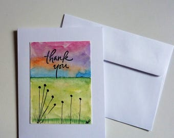 Hand Painted Thank You Card, Hand Made Card, Original Painting, Ink and Watercolor, green fields, sunset, thank you, miniature painting