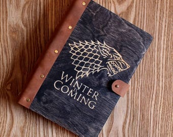 Winter is coming - Game of Thrones - House Stark of Winterfell - sketchbook - A5 - pocketbook Small journal - Personalized pocket notebook
