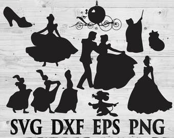 Disney Cinderella SVG Files Disney Silhouettes DXF Files Cutting files Cricut Silhouette
