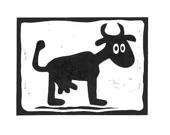 LINOCUT PRINT #Mad Goat# - Handmade print, Linocut print, linoleum print, 8x11 inc, white paper 94 lbs (200g/m2), acid-free archival paper