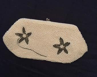 White Floral Beaded Clutch