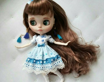 Doll dress | Blythe dress | Blue dress | Blythe outfit | Blythe overall | Blythe clothes | Pullip | Icydoll | Pullip dress | Doll clothes |