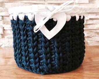 Dark Blue Storage Basket for Cosmetics