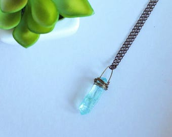 Rustic Aqua Aura Necklace