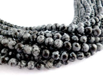 Round Smooth Natural Obsidian /snowflake obsidian/GEMS/ Strand