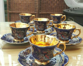 Stunning vintage cobalt blue and gold demitasse coffee set