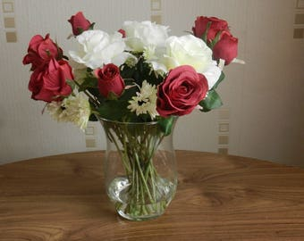 Artificial Flower Arrangement - Red and White Rose Spray in Glass Vase