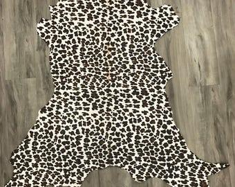 White Leopard 9.25sqft, Calf hair, hair on hide, genuine leather, baby calf