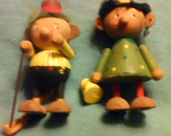 Vintage wooden Swedish handcrafted miniatures