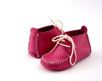 First Step Handmade Natural Leather Baby Shoe EU 18 - 19 Fuchsia