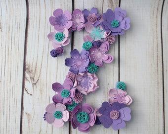 Custom Floral Letter, Baby Shower Letter, Nursery Decor, Paper Flower Monogram, Paper Flower Letter, Wall Deco
