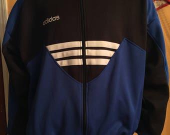Vintage Adidas Trefoil Track Jacket Full Zip Blue Black White Men's Size Large