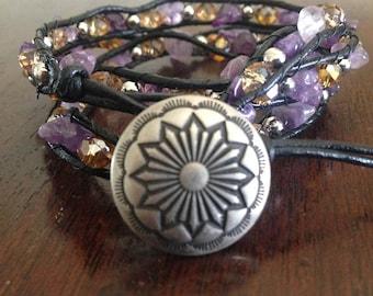 Triple wrap beaded leather bracelet