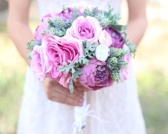 Silk Bride Bouquet Pinks and Purples Roses and Peonies Shabby Chic Vintage Inspired Rustic Wedding Keepsake Bouquet