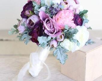 Silk Bridal Bouquet Purple Lavender Dusty Miller Garden Rustic Chic Wedding
