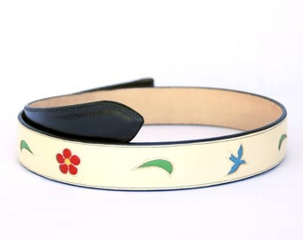 Handmade Belt Cream with Inlaid Bluebird & Floral Designs sz 36""