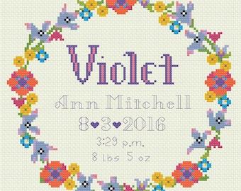 Birth Announcement Floral Wreath Cross Stitch 8x8 - Digital Download Pattern