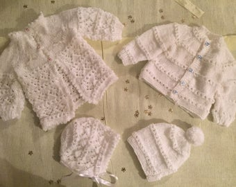 Hand knitted Boy & girl gift set for twins