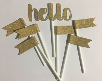 Gold Glitter Flags and Hello Cupcake or Cake Toppers, Party Decor Cake Topper