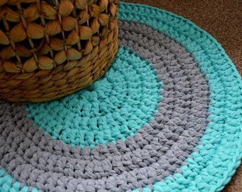 Crochet Mat in Mint and Grey, Bathroom Mat, Door Mat, Crochet rug