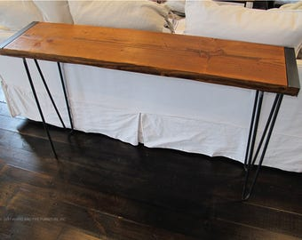 Reclaimed Sofa Table with Hairpin Legs,Industrial Hallway Console, modern wood entryway console