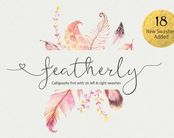 Wedding font Script Font featherly font calligraphy font cursive font wedding invitation font Can be used for a logo design font
